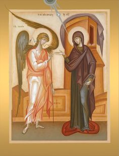 Annunciation by George Kordis Byzantine Icons, Byzantine Art, Religious Icons, Religious Art, Lucas 1 26 38, Saint Gabriel, Roman Church, Paint Icon, Russian Icons