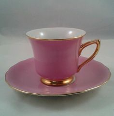 Carlsbad Windsor Loucky Czechoslovakia Demitasse Tea Cup and Saucer in Pink