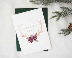 Joyeux Noel Floral Deer Antler Holiday Floral Card    Woodland Christmas    A7    Single Watercolor Greeting Card    EightPepperberries