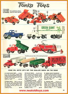Vintage Advertisements, Vintage Ads, Toy Castle, Nostalgic Candy, 1960s Toys, Tonka Toys, Metal Toys, Toy Trucks, Miniatures