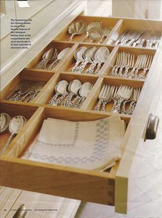 Great flatware storage. Would tweak the layout a bit....configure the divides to also accommodate serving pieces; would move the linen nap storage.