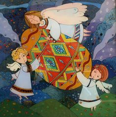 Angels and Easter Egg Glass Painting by Natalia Kuriy Lviv West Ukraine
