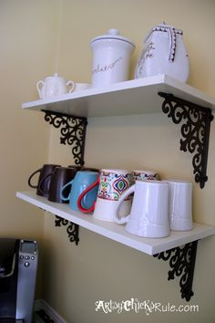 Add shelves for coffee mugs to create your Coffee Bar !! Easy addition but with big impact!