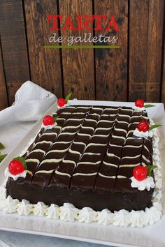 El jardín de mis recetas: TARTA DE GALLETAS Mexican Food Recipes, Sweet Recipes, Cake Recipes, Chocolate Sweets, Chocolate Ganache, Chocolates, Easy Cake Decorating, Cake Shop, Something Sweet