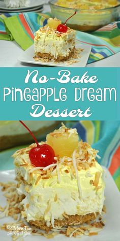 No-Bake Pineapple Dessert Recipe. This is seriously a great dessert that everyone loves. No-Bake Pineapple Dessert Recipe. This is seriously a great dessert that everyone loves. Pineapple Dream Dessert Recipe, Pineapple Desserts, Pineapple Recipes, Blueberry Desserts, Summer Desserts, No Bake Desserts, Easy Desserts, Delicious Desserts, Yummy Food