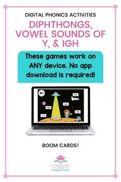 Help your students master diphthongs and other misc. vowel patterns (IGH and sounds of y as a vowel) with these digital phonics activities! These are great for remote learning—top worrying about students forgetting directions or not being able to identify pictures - audio directions and support are included! Word Work Activities, Phonics Activities, Kids Learning Activities, Decoding Strategies, Comprehension Strategies, Phonemic Awareness Activities, Reading Words, First Grade Reading, Vowel Sounds