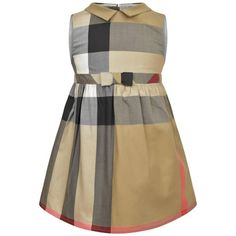 Burberry Girls Beige Giant Exploded Check Cotton Dress