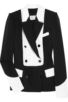 Two-tone wool-blend crepe tuxedo jacket by Yves Saint Laurent