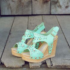 Mint Studded Wedge Sandals...
