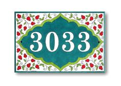 Address Numbers House Number Pomegranates pattern by AyeBarDesigns