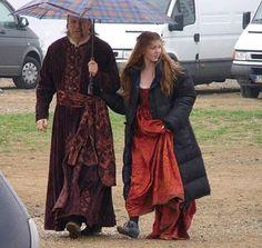 Isolda Dychauk and John Doman on the set of Borgia season 1
