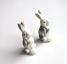 Vintage Pair of Composition Rabbits