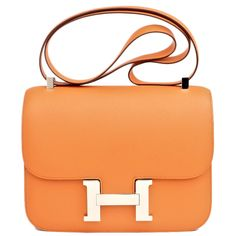 Hermes Constance Epsom Bag in Orange with Palladium Hardware