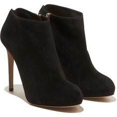 Salvatore Ferragamo Bootie (1,155 CAD) ❤ liked on Polyvore featuring shoes, boots, ankle booties, heels, ankle boots, booties, black, black buckle booties, black booties and short heel boots