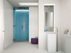 Modern White Bathroom Interior Design with Tiles Texture - Interior Design   Exterior Design   Office Design   Home Design