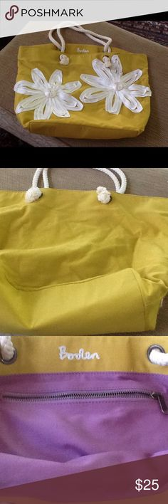 Large heavy cloth tote. Boden Tote. Heavy fabric. More gold than yellow. Good for beach. Boden Bags Totes