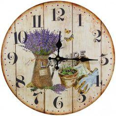 Nástenné hodiny levanduľa provence 34cm Provence, Shabby Chic, Clock, Wall, Vintage, Design, Home Decor, Wall Clocks, Watch