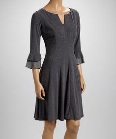 Gray Ruffle-Sleeve Dress by Rabbit Rabbit Rabbit Designs #zulily #zulilyfinds