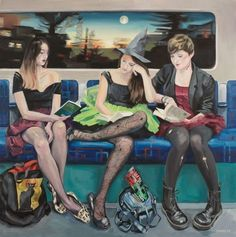 Artist Ewing Paddock's three-year project of making paintings of people in the London Underground. Zara, Tatiana, Rachel. Three lost souls – sorry, LSE students, off to a coven – sorry, party, on Halloween Night 2011. Fair is foul, and foul is fair!