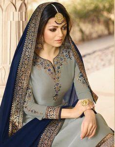 Drashti Dhami Partywear Lehenga Style Suit front neck design for partywear Pakistani Formal Dresses, Pakistani Dress Design, Pakistani Outfits, Designer Salwar Kameez, Saris, Drashti Dhami, Lehenga Style, Indian Designer Suits, Embroidery Suits Design