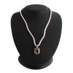 """SIMA K Sterling & 14K Gold Rose De France Amethyst 18"""" Necklace L406 #SimaK #Pendant"""