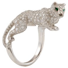 Cartier Platinum Diamond & Emerald Panther Ring