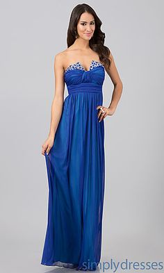 Long Strapless Dress In Royal Blue at SimplyDresses.com