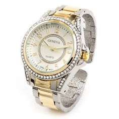 2Tone Metal Band Crystal Bezel Large Face Women's Bangle Cuff Watch