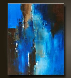 """'Passage',  30"""" x 24"""",  abstract acrylic painting done in a contemporary style in deep soothing shades of blue and brown."""