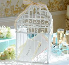 This Wedding Card Holder is perfect for a wedding or bridal shower. Guests deposit their cards in the bird cage wedding card box at the wedding and use it after too! Butterfly Wedding Theme, Love Birds Wedding, Dream Wedding, Wedding Beauty, Card Box Wedding, Wedding Wishes, Wedding Stationary, Birdcage Card Holders, Greeting Card Holder