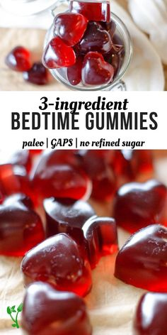 3 Ingredient Bedtime Gummies is part of Gaps diet recipes - With three simple ingredients, these Bedtime Gummies are sweetened with raw honey for extra nutrition and are overall a great Paleo & GAPS treat Gelatin Recipes, Candy Recipes, Real Food Recipes, Cooking Recipes, Yummy Food, Chicken Recipes, Superfood, Homemade Gummies, Homemade Gummy Bears