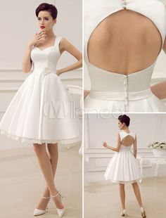 Vintage Sweetheart Neck Flower Backless Knee-Length Bridal Wedding Dress with Sash - Milanoo.com