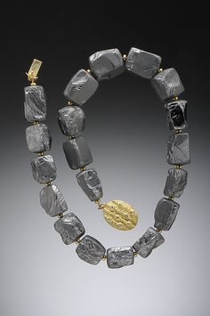 Large Silicium Chunk Necklace Strung with 20k Gold Spacer Beads and 18K Box Catch with White Diamonds  Hughes-Bosca Jewelry | Necklaces