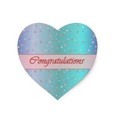 Congratulations Tiny Hearts Pink Blue Sticker