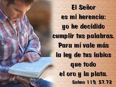 El Señor es mi herencia: yo he decidido cumplir tus palabras. Para mí vale más la ley de tus labios que todo el oro y la plata. (Salmo 119, 57.72)