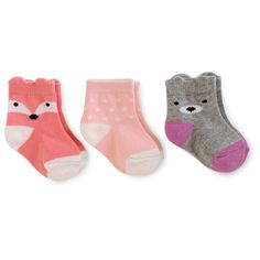 Baby Girls' 3 Pack Fox/Dots/Bear Socks Baby Cat & Jack - Multicolor 6-12M, Infant Girl's, Size: 6-12 M, Multi-Colored