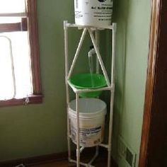 """PVC PROJECTS: """"This is a sink for my dorm so I don't have to make the long trips to the bathroom down the hall. The good water in the upper bucket runs to the valve and into the sink, which then drains it to the used water bucket below."""""""