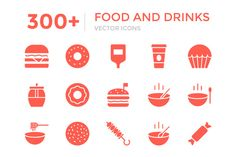 300+ Food and Drinks Vector Icons by Vectors Market on @creativework247