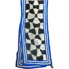 Specialty House Silk Scarf Black White Checkerboard Blue Stripe Border