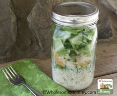 This recipe is one of my new favorites because I can make a few jars early in the week and they will keep for 3 to 5 days. I have lunch ready in fridge when