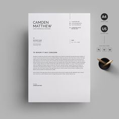Resume/CV by Reuix Studio on Creative Market – erasmus Simple Resume Template, Cv Template, Resume Templates, Resume Cv, Resume Design, Stationery Design, Graphisches Design, Layout Design, Cover Letter For Resume