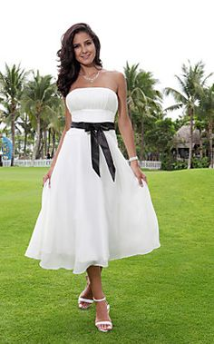 With a Pink Sash -  A-line Strapless Tea-length Chiffon Over Elastic Woven Satin Wedding Dress with Ribbon