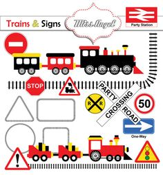 Trains and Signs Clip art Trains children by MissAngelClipArt