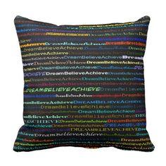 Dream Believe Achieve Text Design I Throw Pillow - personalize cyo diy design unique