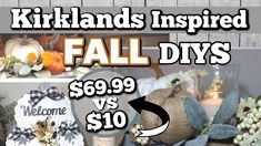 DIY KIRKLANDS INSPIRED FALL DECOR | HIGH-END Dollar Tree FALL DIY Decor Ideas | Krafts by Katelyn - YouTube Dollar Tree Fall, Dollar Tree Crafts, Fall Arts And Crafts, Holiday Crafts, Autumn Decorating, Diy Wedding Decorations, Cottage Farmhouse, White Cottage, Farmhouse Decor