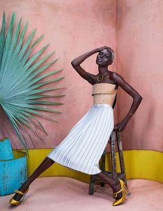 Ajak Deng in Africa Rising for Models.com Photography by Ed Singleton for Models.com Stylist: Solange Franklin Editor: Irene Ojo-Felix Hair: Sirsa Ponciano Make Up: Laura Stiassni Nails: Yukie Miyakawa Set Design: Lizzie Lang