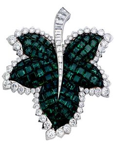 Van Cleef & Arpels mystery-set sapphire and diamond leaf clip