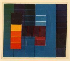 JOHANNES ITTEN (Süderen-Linden/Thun 1888-1967 Zürich)    Komposition mit Farbkontrasten aus Blau/Grün/Violett und Rot/Gelb. Collage aus gedruckten Papieren auf Karton
