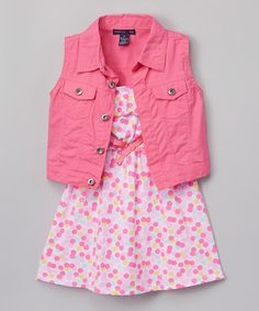 Pink Floral Yoke Dress & Denim Vest - Infant, Toddler & Girls