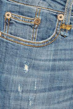 Blue stretch-denim Button and concealed zip fastening at front  98% cotton, 2% elastane Machine wash  Designer wash: Strummer Blue Made in Italy